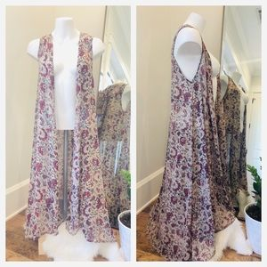 Jackets & Blazers - Boho Floral Maxi Vest Long